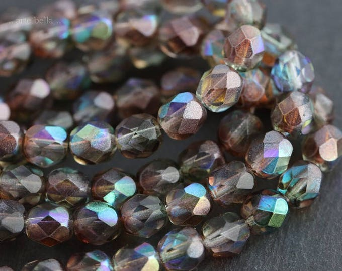 MYSTIC PEBBLES .. 25 Premium Czech Glass Beads 6mm (5982-st)