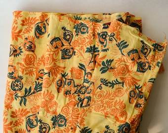 "BTY 1960s-70s Block Printed Cotton Fabric Yardage 39"" Wide -178-L16"