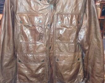Vintage Eddie Bauer lambskin leather four pocket jacket.