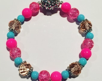 Sparkly beaded bracelet with pink and blue beads