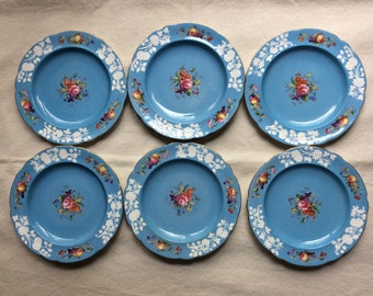 Antique Spode Copeland Porcelain Plates -Set of Six Handpainted