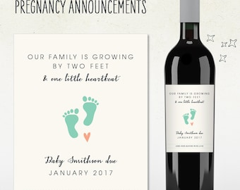 Custom Wine Label - Pregnancy Announcement // our family is growing by two feet & one little heartbeat!