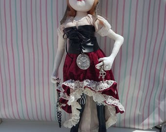 Steampunk hand made fabric doll 17.5 in /45cm she has a pair of leatherett boots hat  and