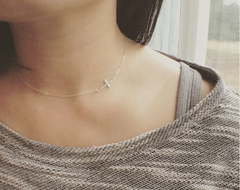 Cross Necklace, Sideways Cross Necklace, All Sterling Silver, Everyday Wear, Holiday Gift, Cross Choker, Holiday Gift