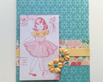 All Occasion Handmade Card / Pink Girl Vintage Retro / Custom Message / Birthday Card / Thank you Card / Blank Note card / Creative Designs