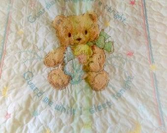 Guardian Angel Teddy Bear Crib Quilt