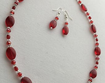 Bright Red Glass Beaded Necklace