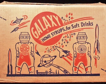 One Dozen Origianl Vintage 1950s Galaxy Home Syrup botttles