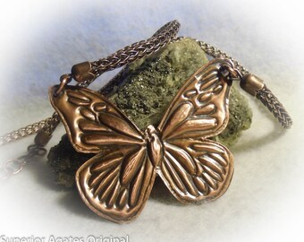 Butterfly Antiqued Copper Wire Wrapped 20 inch Necklace
