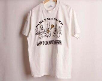 SANTA FE au Nouveau Mexique BUNNY orchestre 90 s vintage t-shirt vintage taille grande