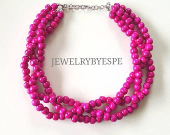 Hot Pink Beaded Necklace, Statement Necklace, Beach Wedding Jewelry, Multi Strand Necklace, Chunky Bib twisted braided pink necklace