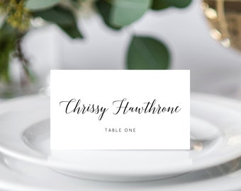 INSTANT DOWNLOAD Wedding Place Cards, Seating Card, Wedding Table Cards, Printable, Instant Download, DIY, Modern Calligraphy, Templett, W02