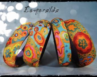 set of 2 bracelets ESMERALDA - purple leather - fabric multicolored predominantly orange and yellow ocher