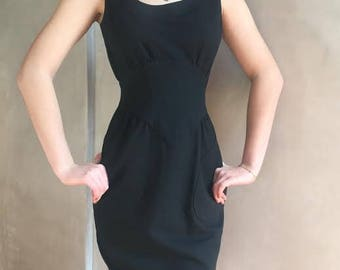 1980s Thierry Mugler vintage cotton dress/ Little Black Dress/Small/French size 40