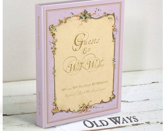 French Lavender Wedding Guest Book - Antique Lilac Traditional Guest Book - Vintage Wedding Wishes - Personalized - More Colors Available