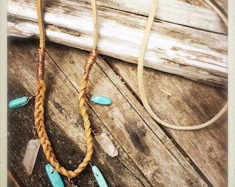 Leather & crystal boho necklace