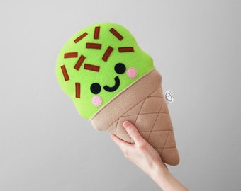 Green Pistachio Chocolate Chip Ice Cream Plush Pillow, Kawaii Cushion, Sweet Treats, Home Decor