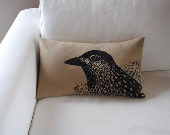 Pretty Bird Pillow Cover in Khaki