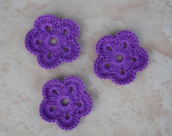 set of 3 purple flower 5 petals crochet
