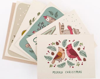 Build Your Own Christmas Card Set- Customizable (Pick 5 Designs)