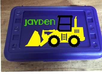 Back to School,  Construction Truck, Bulldozer, Custom Designed Personalized  Pencil Box, Pencil Case,