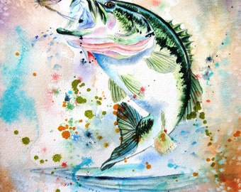 Midwest Largemouth Bass, Fish Watercolor Painting, giclee print fish painting, watercolor fish Wall Art Decor 11 x 14