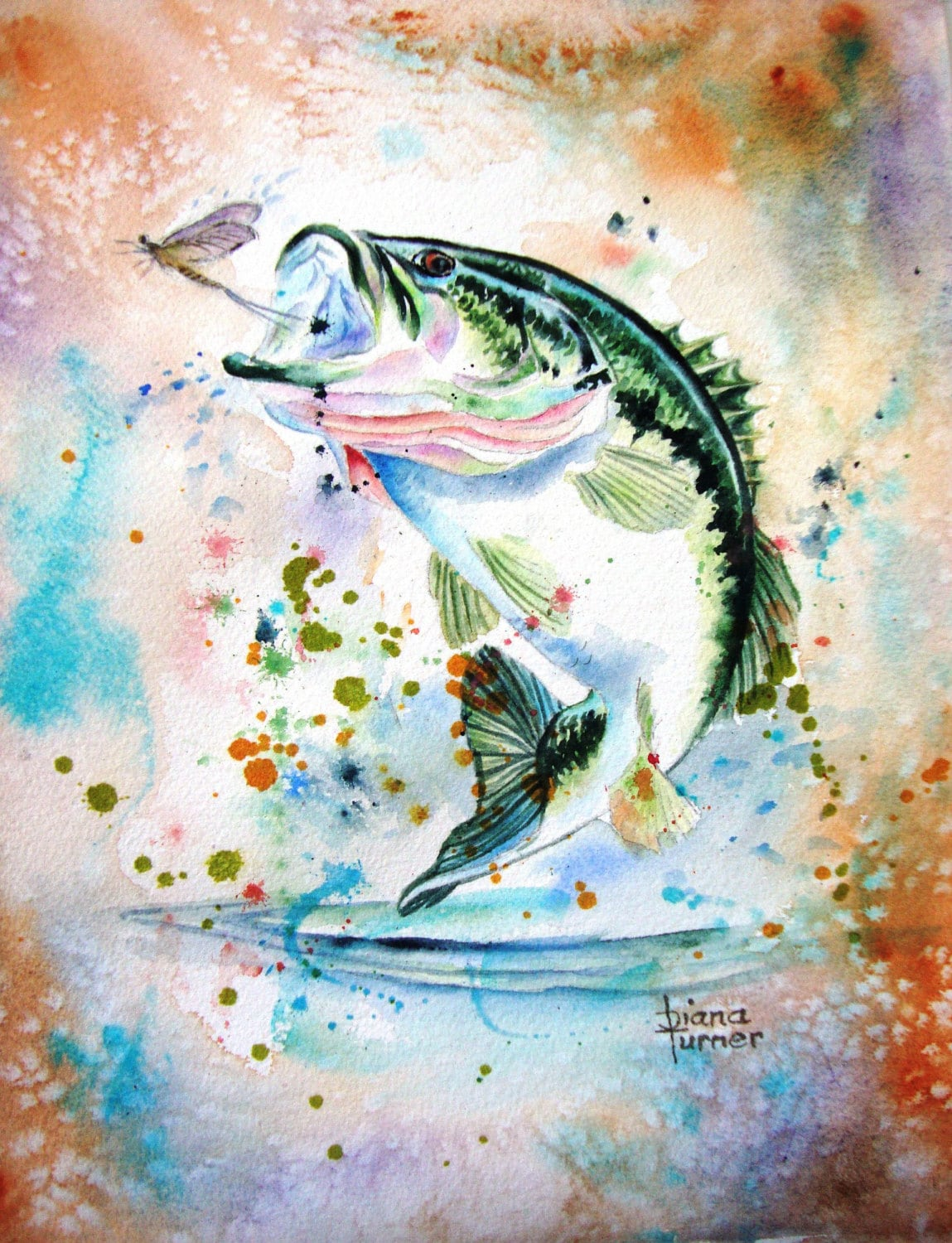 Largemouth bass fish watercolor painting giclee print from my for Watercolor fish painting
