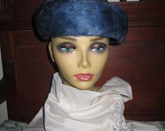 Vtg Mid Century Netting Covered Dark Blue Feathers Pillbox Hat