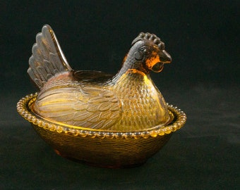 Vintage Amber Carnival Indiana Glass Confections Hen on a Nest Candy Box Dish