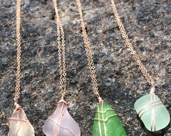 14k rose gold filled mermaid seaglass necklace