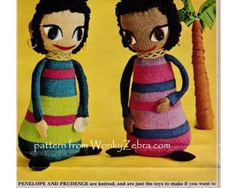 Doll Knitting Knitted Dolls Pattern 13 inch Vintage Toy Knitting Pattern PDF T1020 from WonkyZebra on Etsy