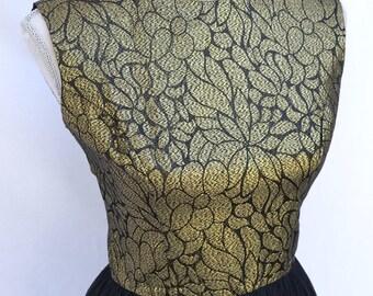 Vintage Dress, Jonathan Logan, 1950s, Gold Bodice and Black Chiffon Skirt, Date Night, Party Dress, Valentine's Day Dress