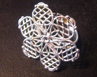 Filigree flower ring blanks, silver plated ON SALE, pick your amount, A277
