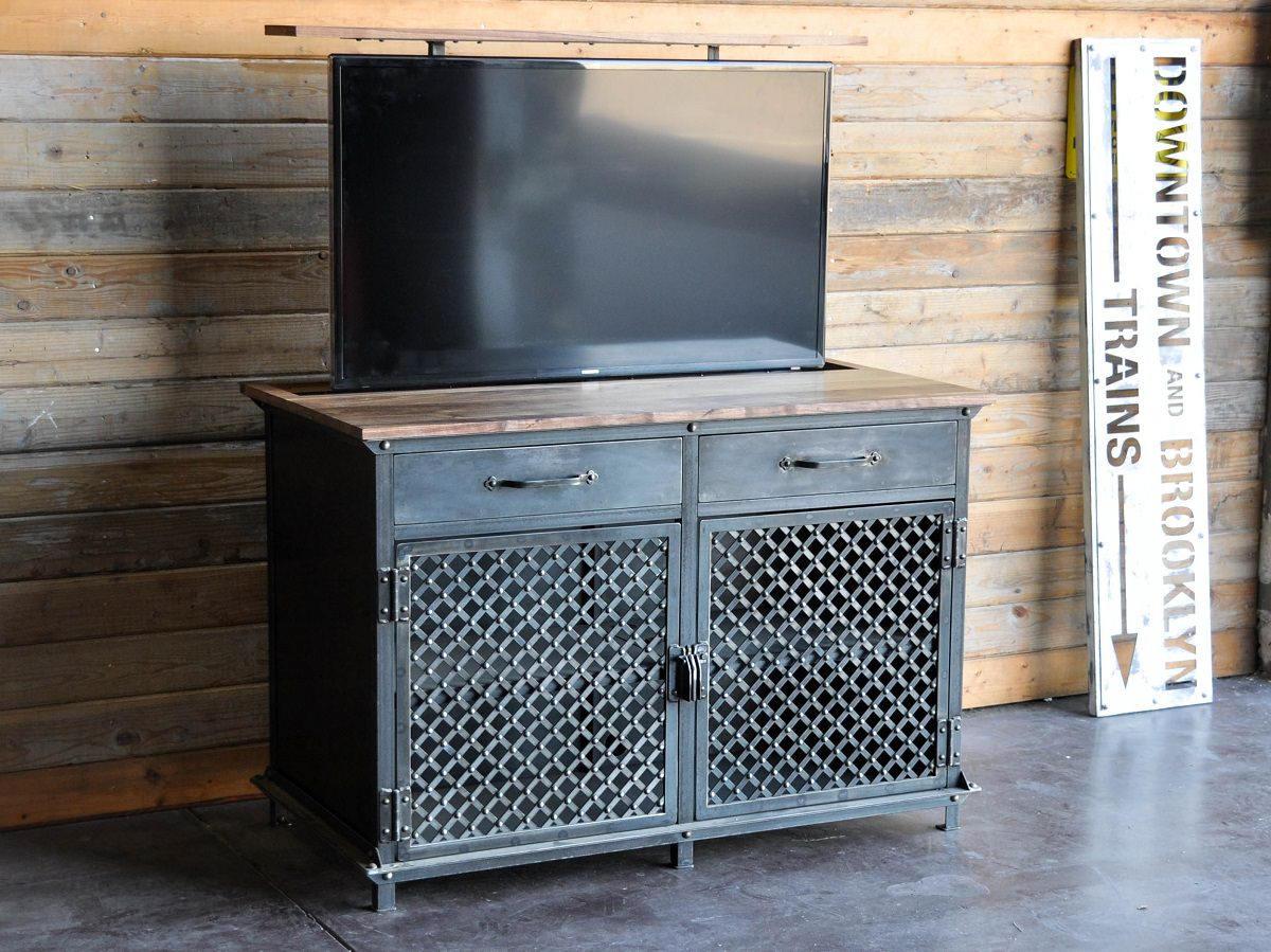 Meuble Tv Lift Console Vintage Industriel Popup Cach  # Meuble Cache Tv