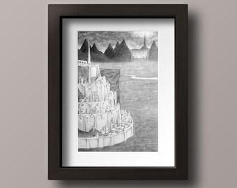 Minas Tirith Print - Gondor Print - Lord of the Rings Print - Eye of Sauron - Black Gate - Nazgul - Geek Art - Geek Print - LOTR Art - LOTR