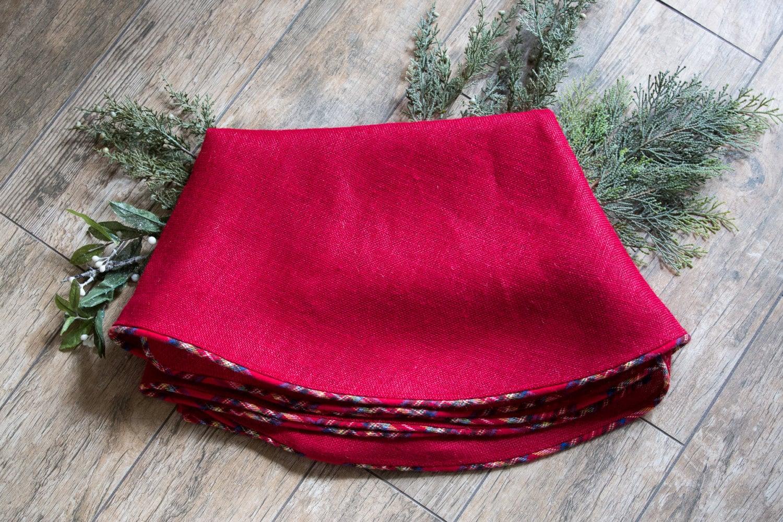 Christmas Tree Skirt Red Burlap Plaid Flannel Rustic