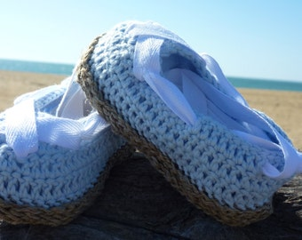 "Sneakers baby ""in blue and white"" pure linen thread and pure Egyptian cotton made in France"