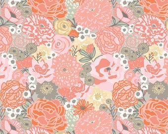 Ava Rose Main Coral - Riley Blake Designs - Pink Floral Flowers - Quilting Cotton Fabric - choose your cut