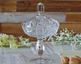 Vintage crystal candy dish with lid Pinwheel bowl Heavy cut glass