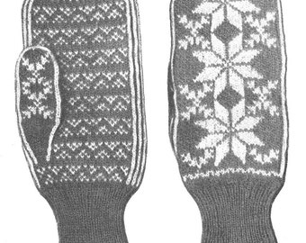 KNITTING PATTERN Vintage Fair Isle Star Snowflake Mittens Instant Download PDF