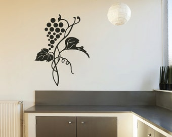 Grapes Vine Swirls Wall Quote Decal - Kitchen Decals - Restaurant Decoration - Vinyl Wall Decal  - KQ91