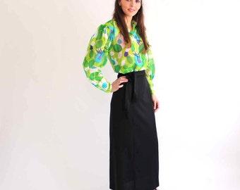sheer floral blouse . vintage blouse . green floral blouse . puffy sleeve blouse . vintage gauze blouse, size large
