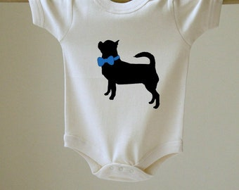 Baby Bodysuit Chihuahua with Bow Choose Your Color
