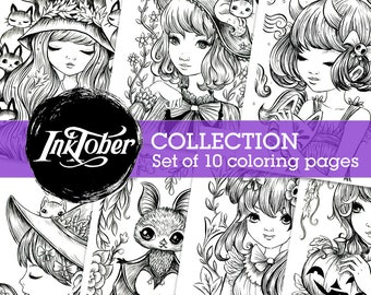 Inktober Coloring Page Collection - 10 pages - Instant Download