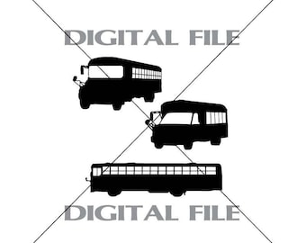 Three School Buses Vector Images Vinyl Decal T-shirt Digital Cutting Files ,Svg File, Ai, Eps, PNG