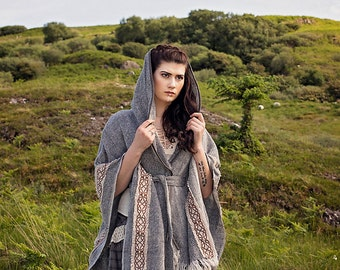 Stormy Skies, Druid Cape, Celtic Knotwork, Celtic, Viking, Celtic Cape, Hooded Cape, viking cape, Light and Earthy, pagan, ozora, Boom
