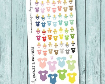Baby Stickers, Pacifiers and Outfits, Infants and Pregnancy, Icon Planner Stickers