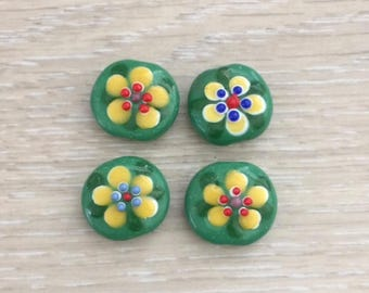 Glass Flower Beads, Handmade Beads, Flower Beads, 4 pcs