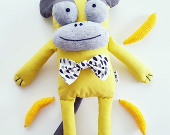 Sweet Monkey Gentleman Stuffed animals & plushies, by KAKUMA store birthday gift, Eco kids toy