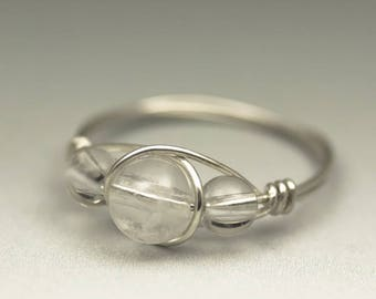 Clear Crystal Quartz Gemstone Sterling Silver Wire Wrapped Ring - Made to Order, Ships Fast!